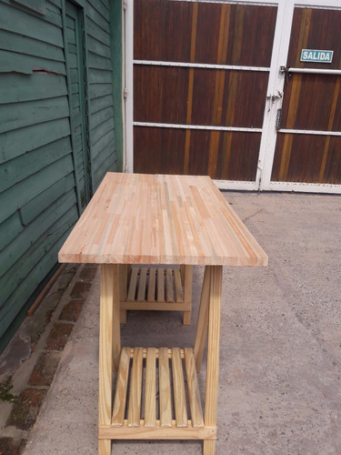 escritorio mesa tablon con caballetes de madera - mader shop
