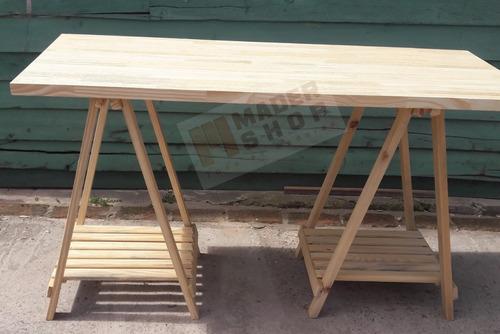 escritorio mesa tablon con caballetes de madera pino clear - mader shop