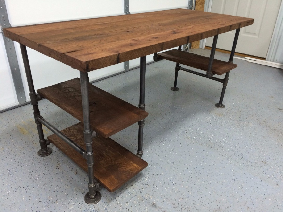 Escritorio mesa trabajo industrial madera tubo 12 msi - Mesa madera industrial ...