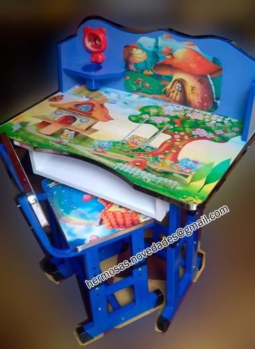 escritorio mesa y silla para niños didáctico