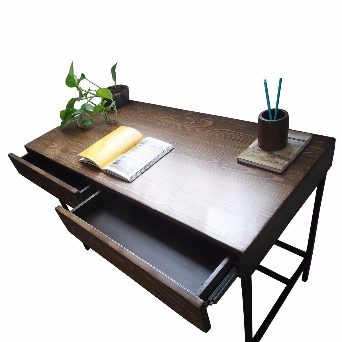 Escritorio minimalista estilo industrial color nogal for Escritorio ergonomico caracteristicas