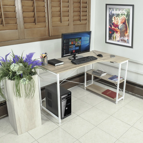 escritorio minimalista moderno economico de madera repisas