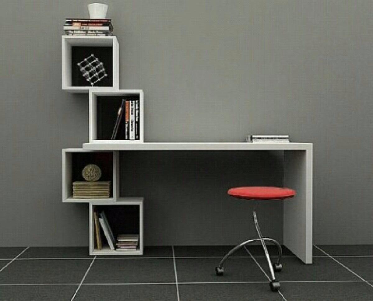 Escritorio moderno minimalista mesa para pc con cubos - Como hacer una mesa de ordenador ...