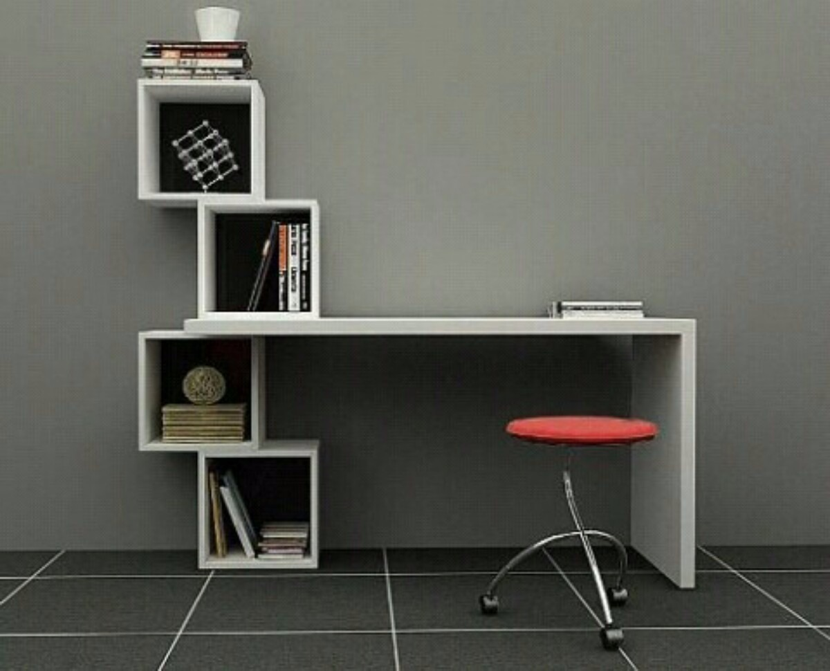 Escritorio moderno minimalista mesa para pc con cubos for Mesas de habitacion