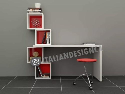 escritorio moderno. pc biblioteca con cubos