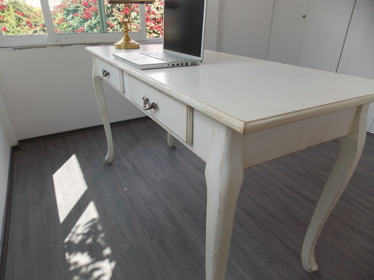 Escritorio mueble vintage mesa blanco antiguo decapado for Muebles de oficina vintage