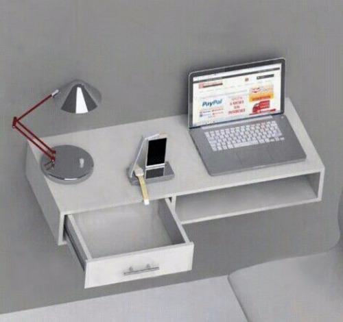 escritorio mueble minimalista repisas aéreo oficina para pc