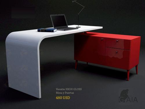 escritorio mueble moderno, curvo y elegante