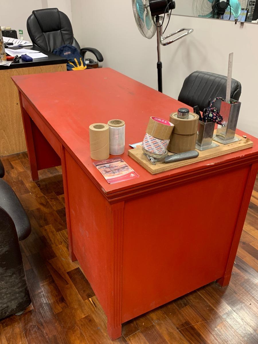 Escritorio Oficina Madera.Escritorio Oficina Trabajo Rojo De Madera 5 000 00 En Mercado Libre