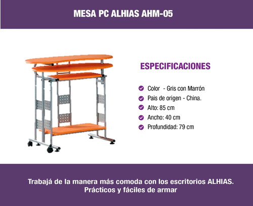 escritorio para pc ahm-05 alhias - depot center