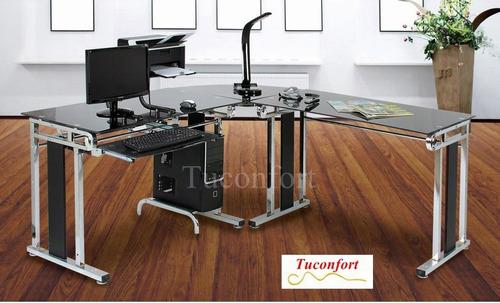 escritorio para pc esquinero en metal y vidrio templado negr