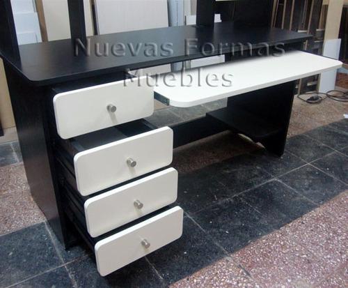 escritorio pc 2 colores alzada estantes cajonera esp. luces