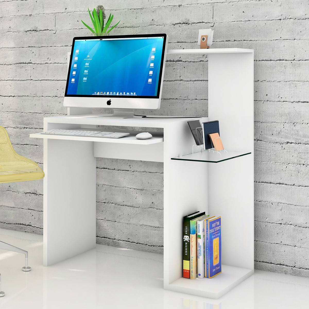 Escritorio pc mesa notebook con vidrio moderna muebles duo - Muebles para pc de escritorio ...