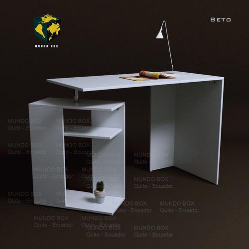 escritorio pc moderno mesa lineal, con librero, repisas.