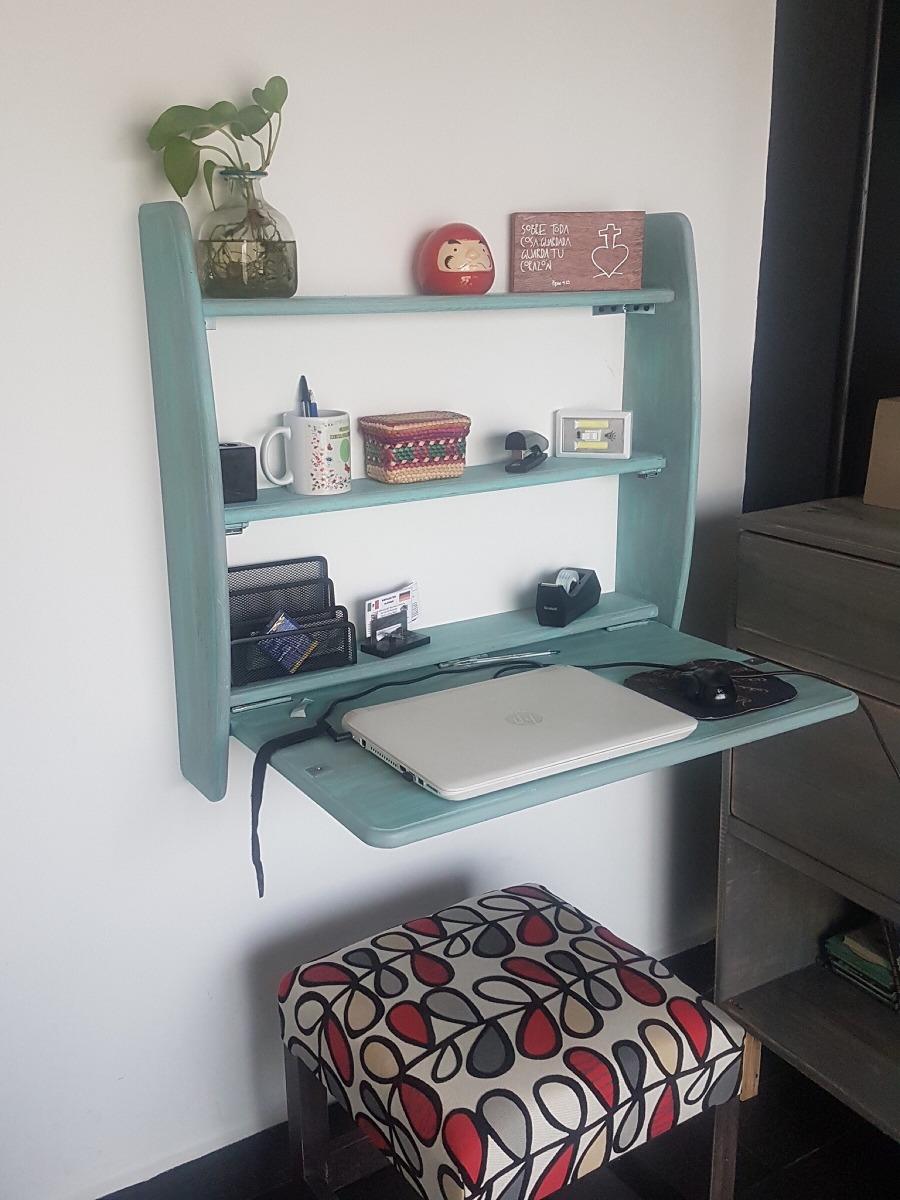 Escritorio plegable de madera ideal para espacios peque os for Escritorios para espacios pequenos
