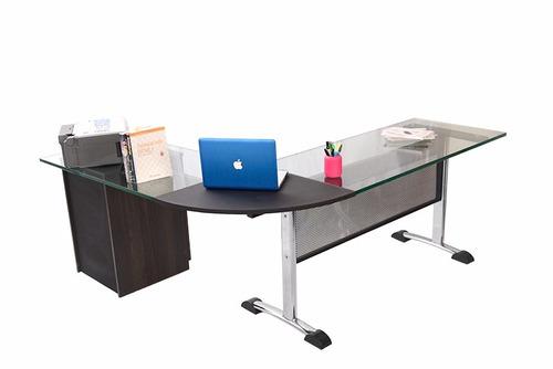 escritorio presidente gerente vidrio 19 m,m, y archivo 10253