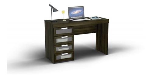 escritorio recto cuatro cajones vidrio malta blanco