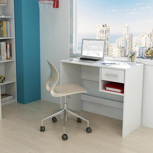 escritorio roma con cajón y estante color blanco