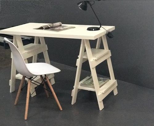 escritorio sobre caballetes blanco + silla eames paris