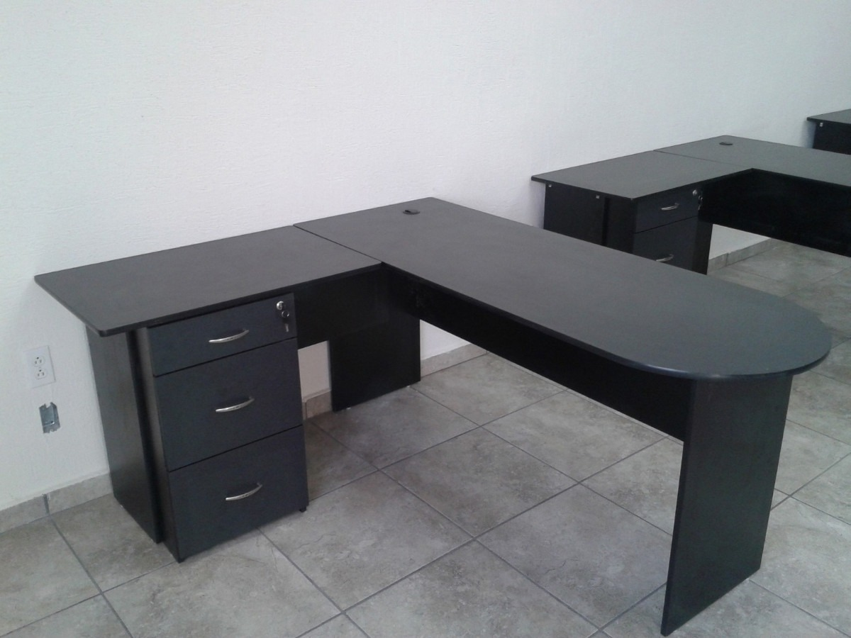Escritorio tipo bala modulo l archivero funcional for Medidas ergonomicas de un escritorio