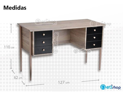 escritorio6 cajones casa y oficina  de computo estudio madera aglomerado minimalista moderno