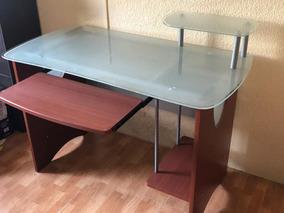 Escritorio,cristal Templado ,madera, Oficina,mesa D Trabajo
