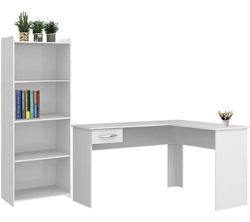 escritorios esquinero mesa + repisa biblioteca estanteria