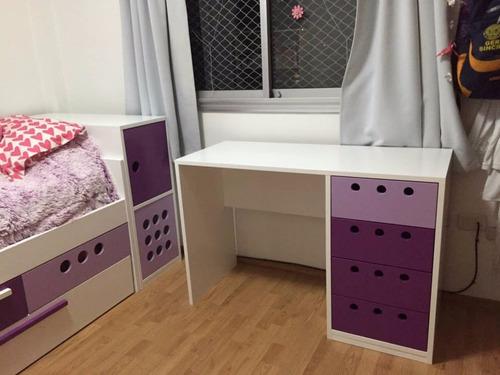 escritorios juveniles laqueados modernos con cajonera alzada