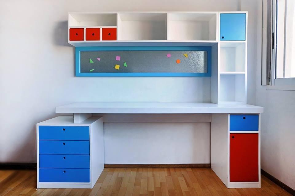 escritorios juveniles laqueados modernos con cajonera alzada cargando zoom - Escritorios Modernos