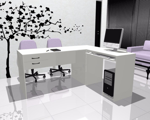 escritorios l blanco lado b mesa de pc cod: 004-fan  -022
