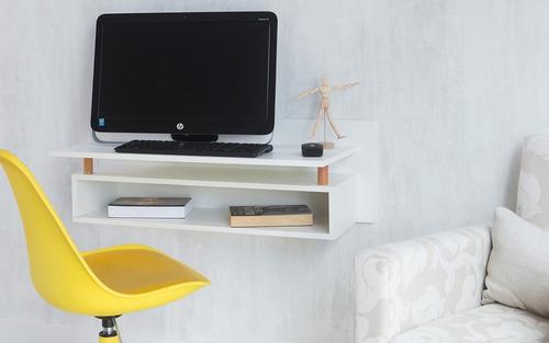 escrivaninha branca suspensa mdf e madeira paul woodinn - 90