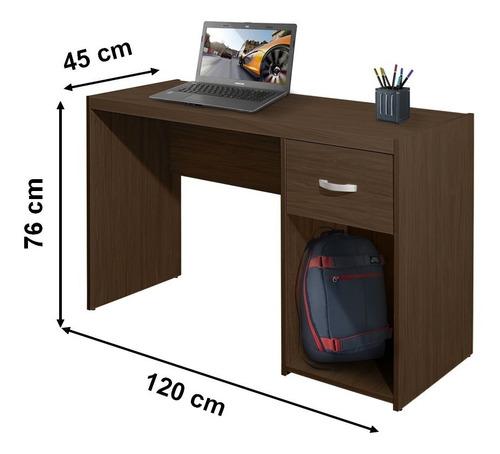 escrivaninha mesa 1 gaveta porta cpu cor castanho