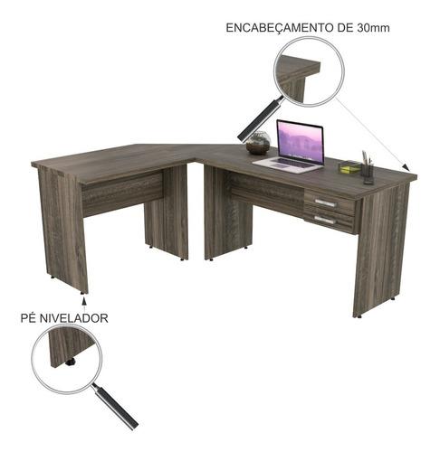 escrivaninha mesa de escritório em l 1,80x1,40m c/02gavetas