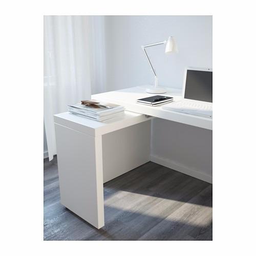 Escrivaninha mesa retr til escrit rio sala mdf 15mm branco - Ikea mesa malm ...