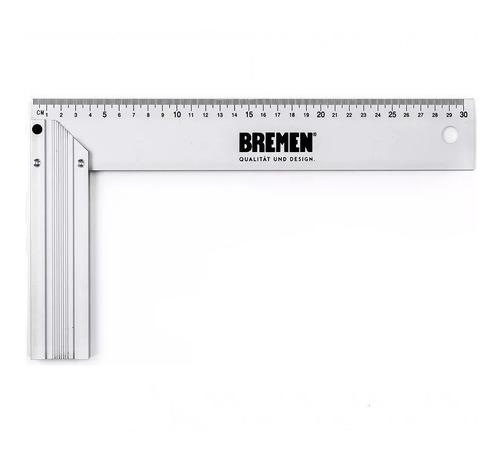 escuadra de aluminio 30cm reforzada profesional bremen 6824