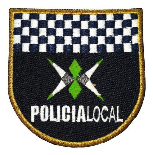 escudo bordado policía local  parche dorado