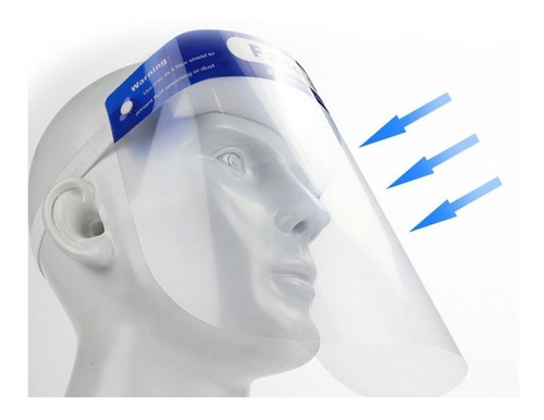 escudo facial protector pet c/ esponja fogless (25 unidades)
