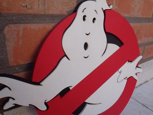 escudo ghostbusters cazafantasmas logo de madera con relieve