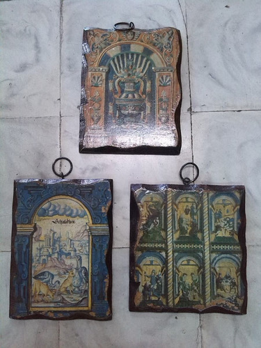 escudos sobre madera tipo antiguos de colección x 3