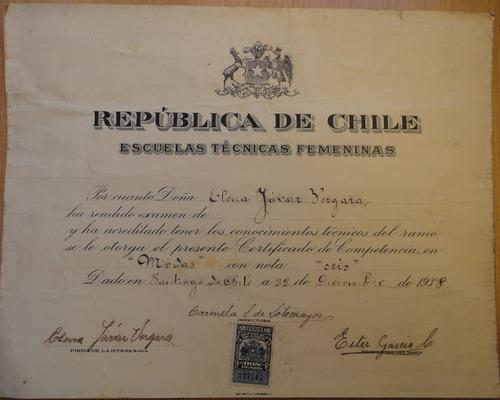 escuelas técnicas femeninas diploma antiguo santiago 1938