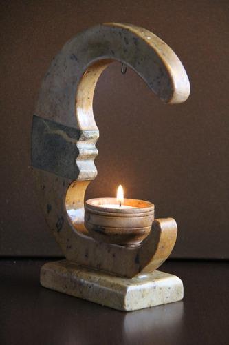 escultura castiçal pedra sabão - origem ouro preto - anos 80