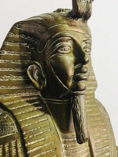 escultura de bronce busto tutankamon antigua estatua