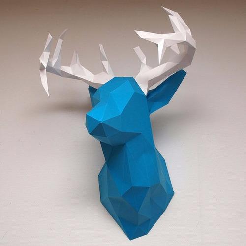 escultura de parede cabeça cervo troféu modelismo em papel