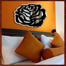 Escultura De Parede Decorativa Em Mdf - Rosa Espelhada 2d