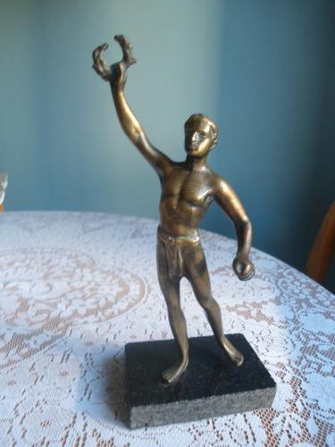 escultura em bronze maciço antiga c323 frete grátis