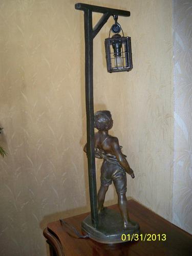 escultura francesa cornu vital 1851- 1927 pet bronce lampara