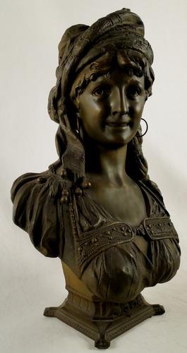 escultura francesa petibronce firmada henry weisse  gitana
