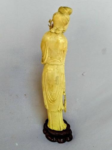 escultura gueixa marfim*  luantiguidades
