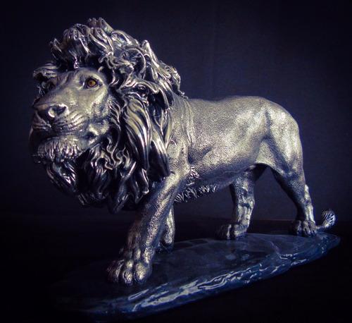 escultura león chico plata 999  figura electroformado