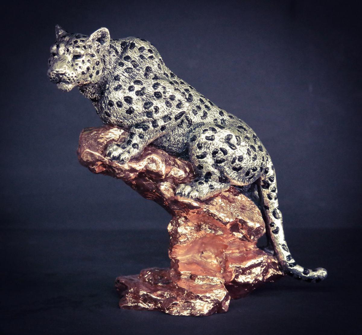 Escultura Leopardo Plata Electroformado Figura Decorativa - Escultura-decorativa
